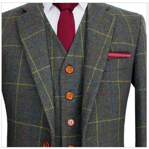 Mitä klassisin brittiläinen vapaa-ajan puku, vihreä ruudullinen tweed-puku